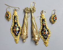 A pair of ornate Victorian gilt metal teardrop shaped earrings, 86mm and two later pairs.