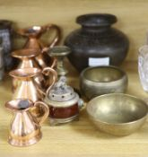 Four copper graduated measures and mixed metalware including Eastern brass