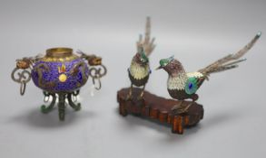 A Chinese white metal and enamel tripod censer (lacking cover), and two model pheasants