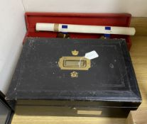A Victorian Wickwar & Co government ledger box, together with a George V knights scroll of arms to