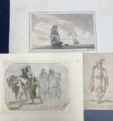 Two 18th century Old Master ink and wash drawings and a 19th century study of shipping on a calm