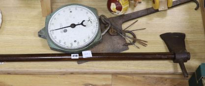 Items from an abbatoir; a twin head axe, iron chopper, a set of Salter scales and a meat skewer