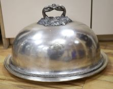 A silver plated meat dome, length 51cm