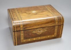 A Victorian walnut and German bandwork box, 29.5cm (interior fittings deficient)