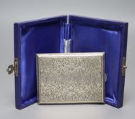 A 20th century Austrian engraved 900 standard white metal cigarette case, 10.3cm, gross 5oz.