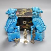 A pair of Chinese turquoise-glazed lion dogs, a lacquered jewellery box and three plated miniature