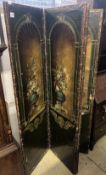 A 19th century Spanish leather four leaf draught screen, painted with vases of flowers, each panel