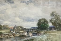 David Bates (1840-1921), watercolour, 'The Lock, Guildford', signed with title verso, 25 x 36cm
