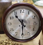 A Victorian mahogany circular eight day wall clock, with silvered dial, diameter 40cm