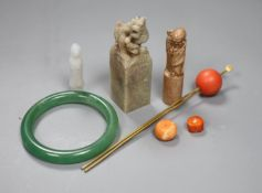 Chinese jades and corals: two seals, a bangle etc.
