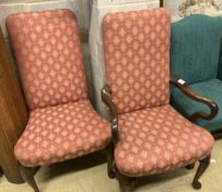 A pair of George I style upholstered mahogany dining chairs (one with arms), width 64cm depth 64cm