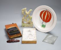 Mixed collectables including quantity of lantern slides, a hardstone carving, a Studio pottery dish,