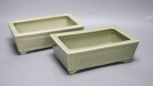 A pair of Chinese celadon glazed rectangular planters, late 19th to 20th century, length 24cm