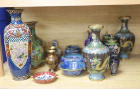 A large collection of cloisonne vases, pots, bowls etc, tallest 31cm