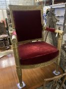 An Empire revival giltwood fauteuil, width 64cm, depth 50cm, height 98cm