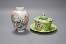 A Sampson Hancock Derby inkwell and a Chinese famille rose vase, Qianlong, height 10.5cm