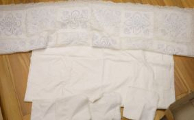 A patch worked filet lace and anglais cut work table cloth and six matching napkins, and another