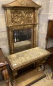 A Regency giltwood and gesso pier table and mirror, with painted faux marble top, width 95cm depth