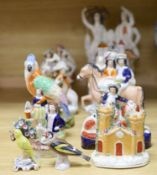 A collection of assorted Staffordshire figures and sundry ceramics including mid 18th century