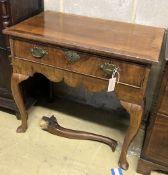 An early 18th century walnut lowboy, width 76cm depth 47cm height 70cm