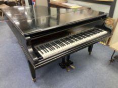 A Bechstein ebonised cased boudoir grand piano, c.1901, length 198cm