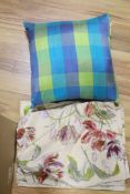 Three silk check cushions and four Laura Ashley floral embroidered cushion covers