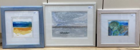 Ann Brunskill (1923-2018), three watercolours, misty loch scene with rowing boat, signed and