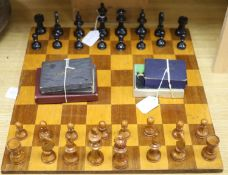 A Staunton style boxwood chess set, a chess board and miscellaneous card games