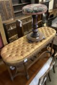A French dressing stool, length 100cm, depth 38cm, height 52cm together with a Victorian