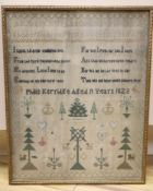 A 19th century framed sampler, dated 1823, 41 x 32cm