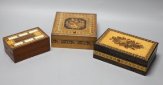 Two Tunbridgeware boxes, one for jewellery and a cribbage board