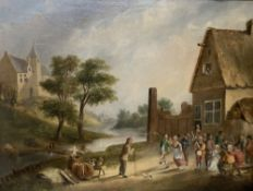 Van Heyde, oil on canvas, 17th century figures celebrating beside a tavern, signed, 37 x 48cm