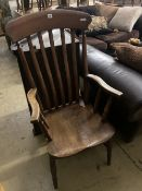 A Victorian elm and beech lathe-back Windsor armchair, width 58cm depth 50cm height 115cm
