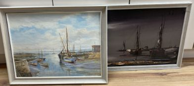 John Brangwyn, oil on board, 'Keyhaven', signed, 44 x 59cm, together with a 1970's oil, Estuary