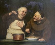 Morson Wood, oil on canvas, Monks in a scullery, after Sadler, 50 x 60cm