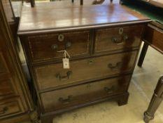 A George III mahogany four drawer chest, width 76cm, depth 40cm, height 81cm