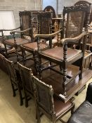 An 18th century design oak draw leaf dining table, 270cm extended width 92cm height 77cm, together