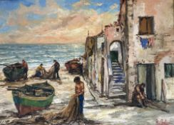 Roberto Baldassarini, oil on canvas, 'Liguria Villaggio di Pescatori', signed with 1985 label verso,