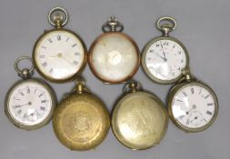 Seven assorted base metal pocket watches including Russian?.