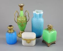 A group of French coloured opaline glass with gilt metal mounts and a satin glass vase, tallest 23.