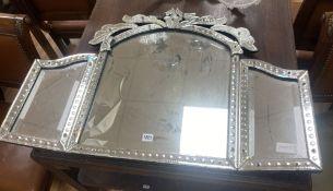 A Venetian glass triple dressing table mirror, width 88cm, height 63cm