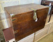 A Victorian brass mounted oak silver chest, width 89cm, depth 56cm, height 63cm