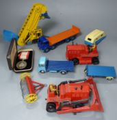 A group of mixed diecast to include Dinky and Corgi toy diggers, tractors, etc. 7 items and a