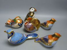 Six Royal Crown Derby Imari pattern paperweights with silver stoppers, comprising Cockerel,