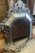 A 20th century Venetian octagonal etched and bevelled glass wall mirror, width 86cm, height 130cm
