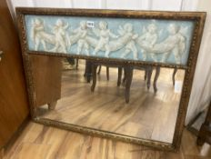 """A wall mirror with painted """"cherub"""" panel, width 78cm, height 62cm"""