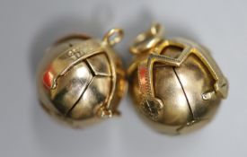 Two yellow and white metal masonic ball pendants, largest diameter 18mm, gross 20.5 grams.