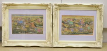 Indian School, pair of gouache on paper, Tiger hunt scenes, 15 x 25cm