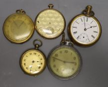 Five assorted base metal pocket watches including Waltham and Tempo(a.f.)