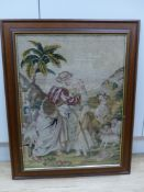 A Victorian woolwork picture depicting Rebecca at the well, framed, 59 x 45cm excl. frame